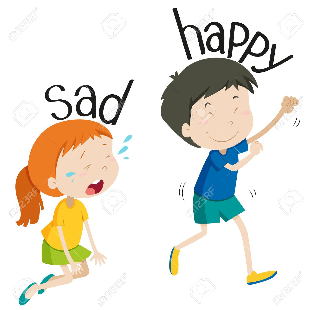 Opposite Adjective Sad And Happy Illustration Royalty Free ...