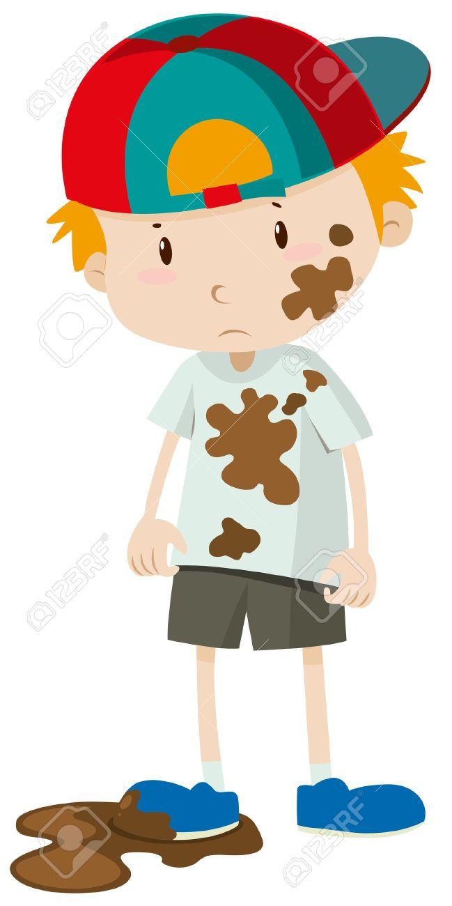 Niño Pequeño Usando La Ropa Sucia Ilustración Ilustraciones ... 2e1a58e2a72