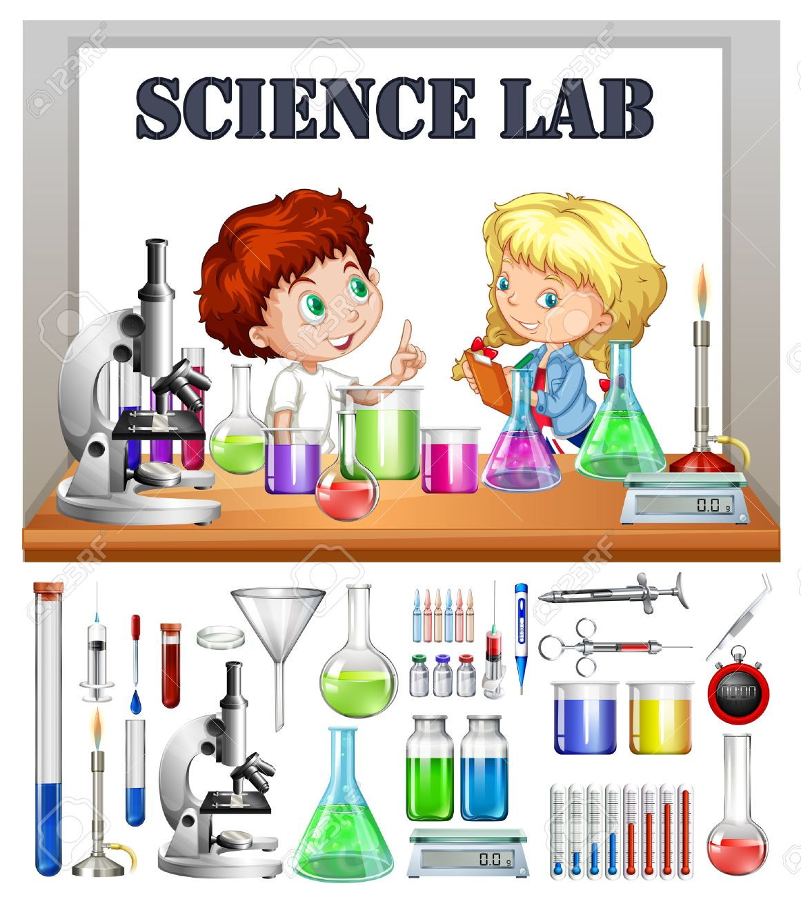 children working in the science lab illustration royalty free rh 123rf com science lab clipart black science teacher science lab clipart signs