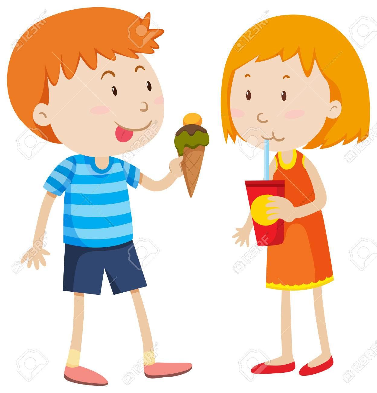 Boy Eating Icecream And Girl Drinking Illustration Stock Vector 48324694