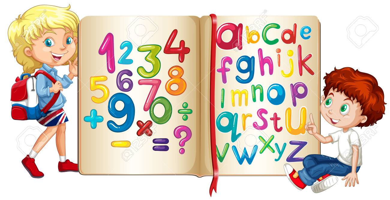 Boy and girl by book of numbers and alphabets illustration - 48324708