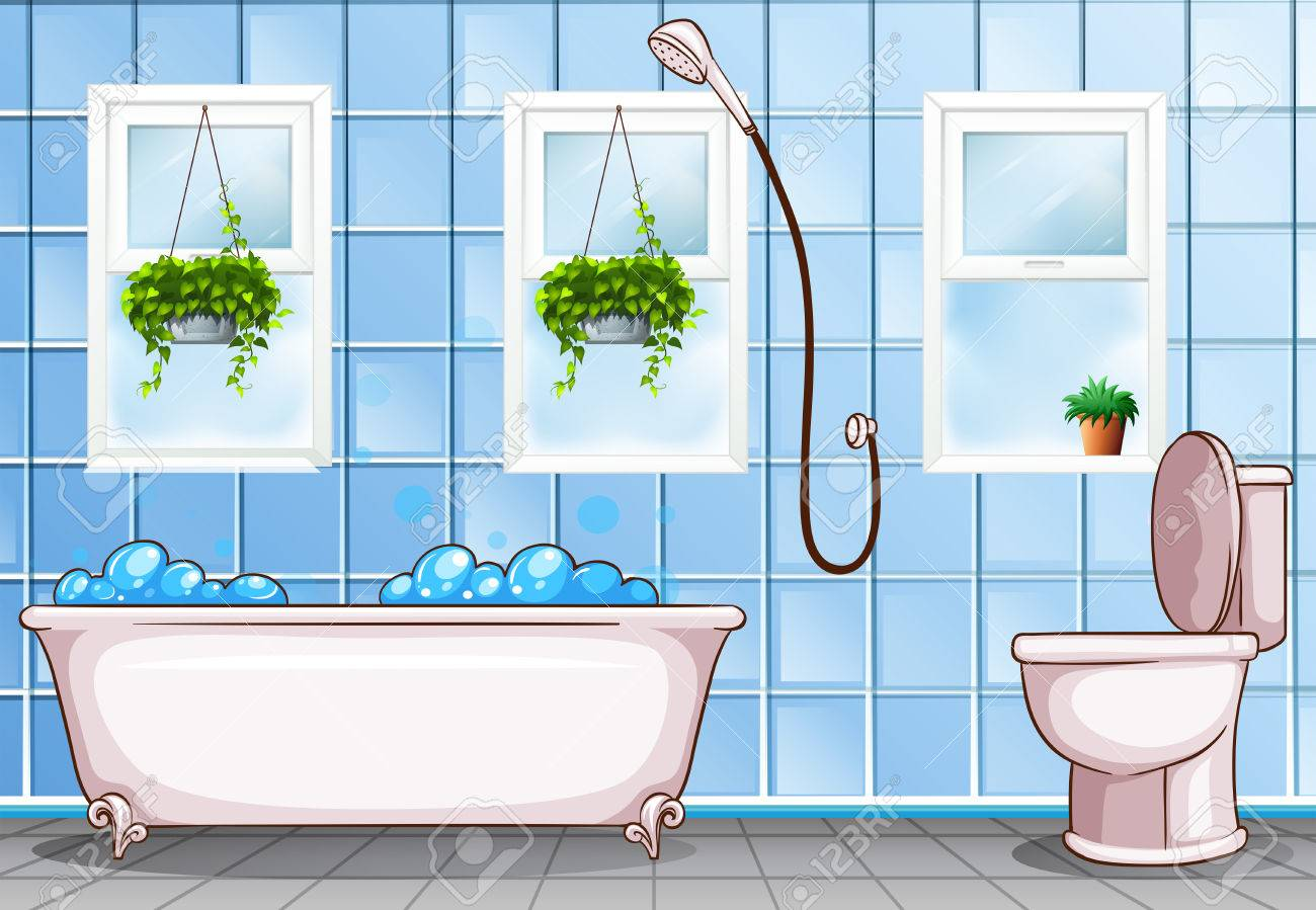 Bathroom With Bathtub And Toilet Illustration Royalty Free Cliparts ...