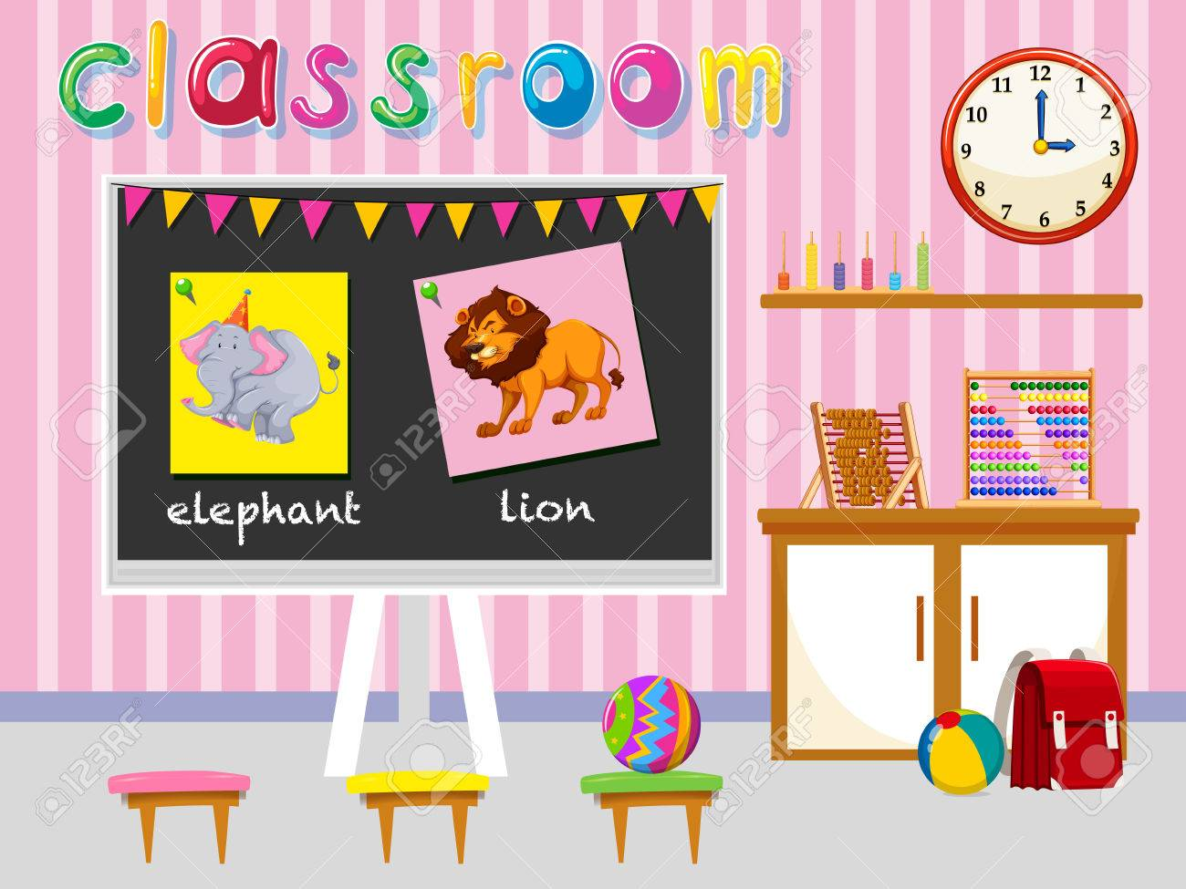 kindergarten classroom with board and chairs illustration royalty