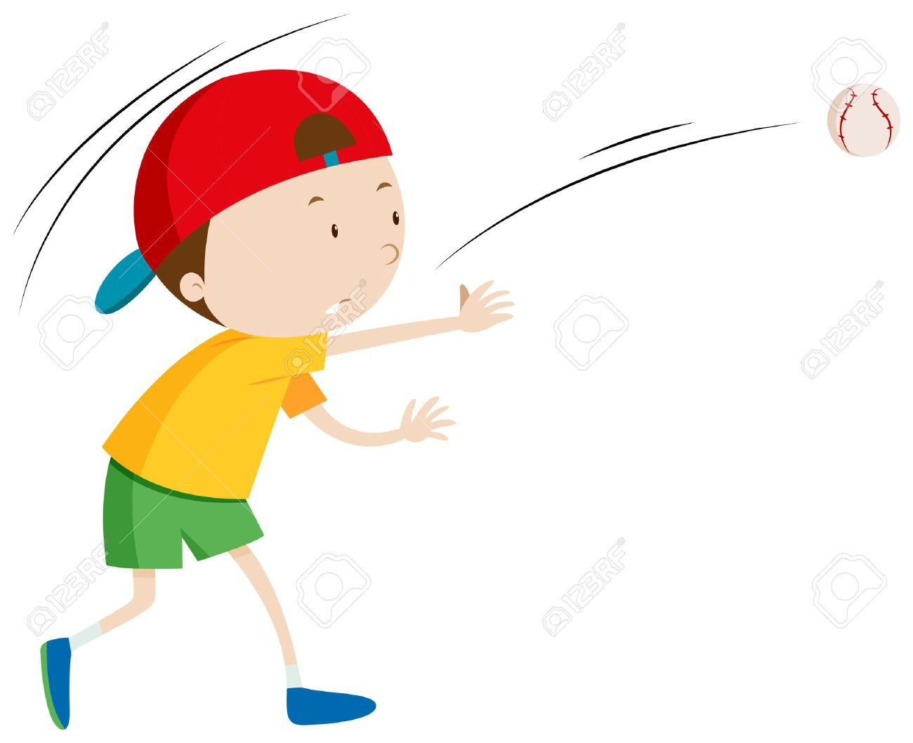 小さな少年投げるボール イラスト ロイヤリティフリークリップアート