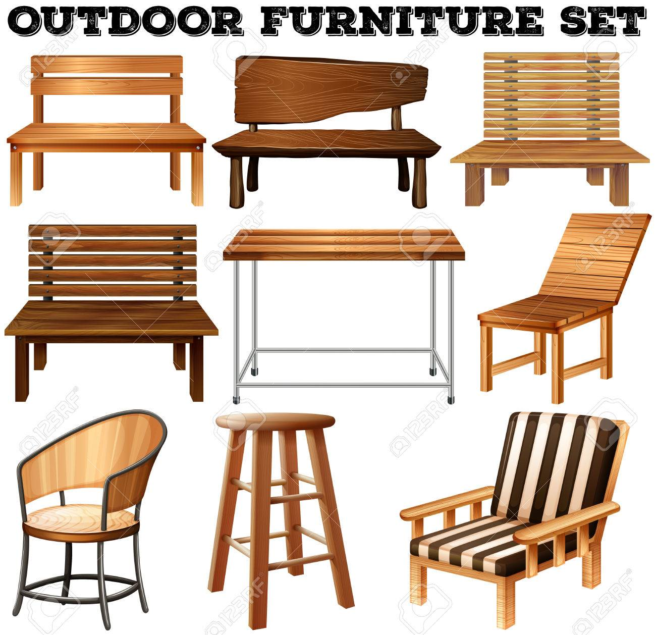 Outdoor Wooden Furniture Set Illustration Royalty Free Cliparts ...