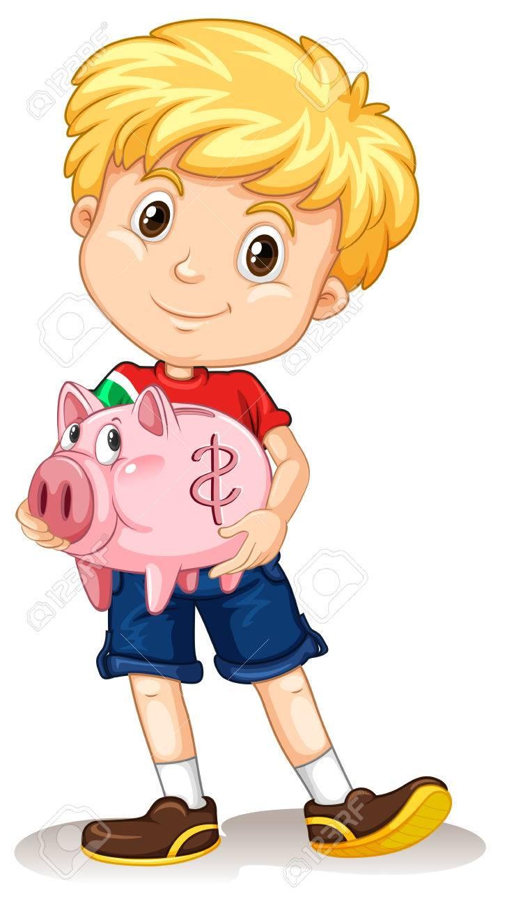 Petit Garçon Piggy Tenant Banque Illustration Clip Art Libres De ... 46a40e16c809