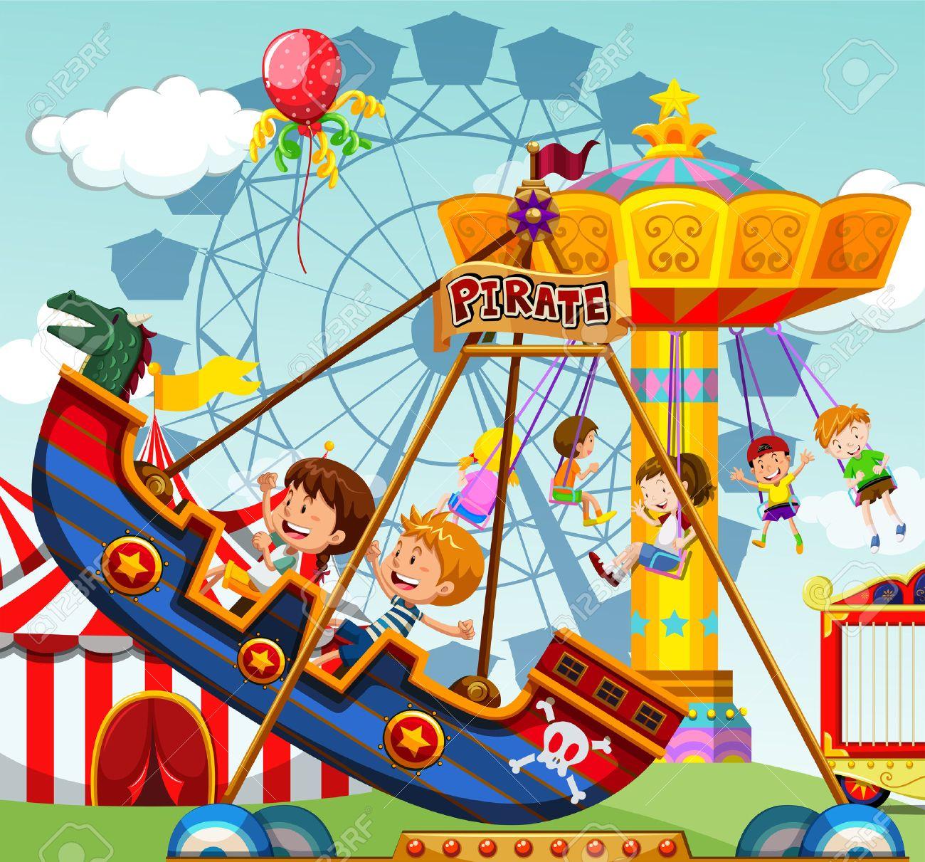 遊園地のイラスト乗り物に乗って子供のイラスト素材ベクタ Image