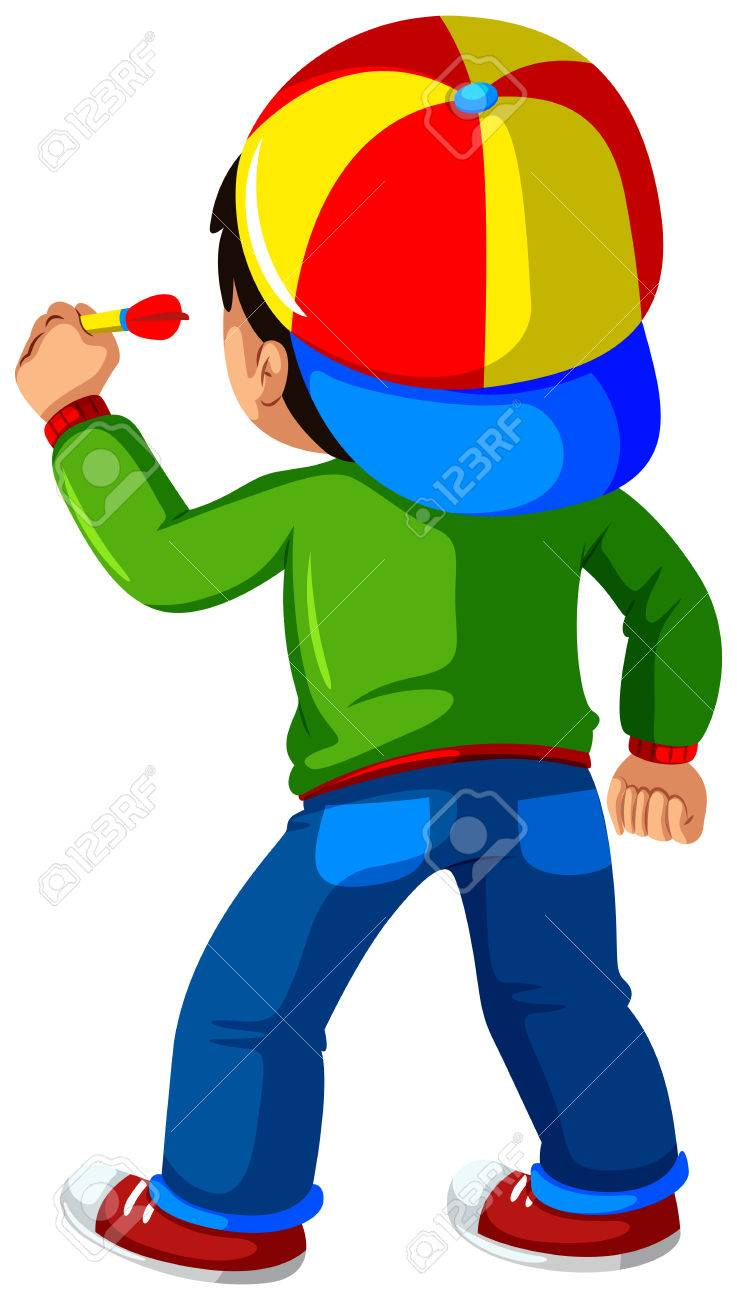 Little Boy Playing Dart Game Illustration Royalty Free Cliparts