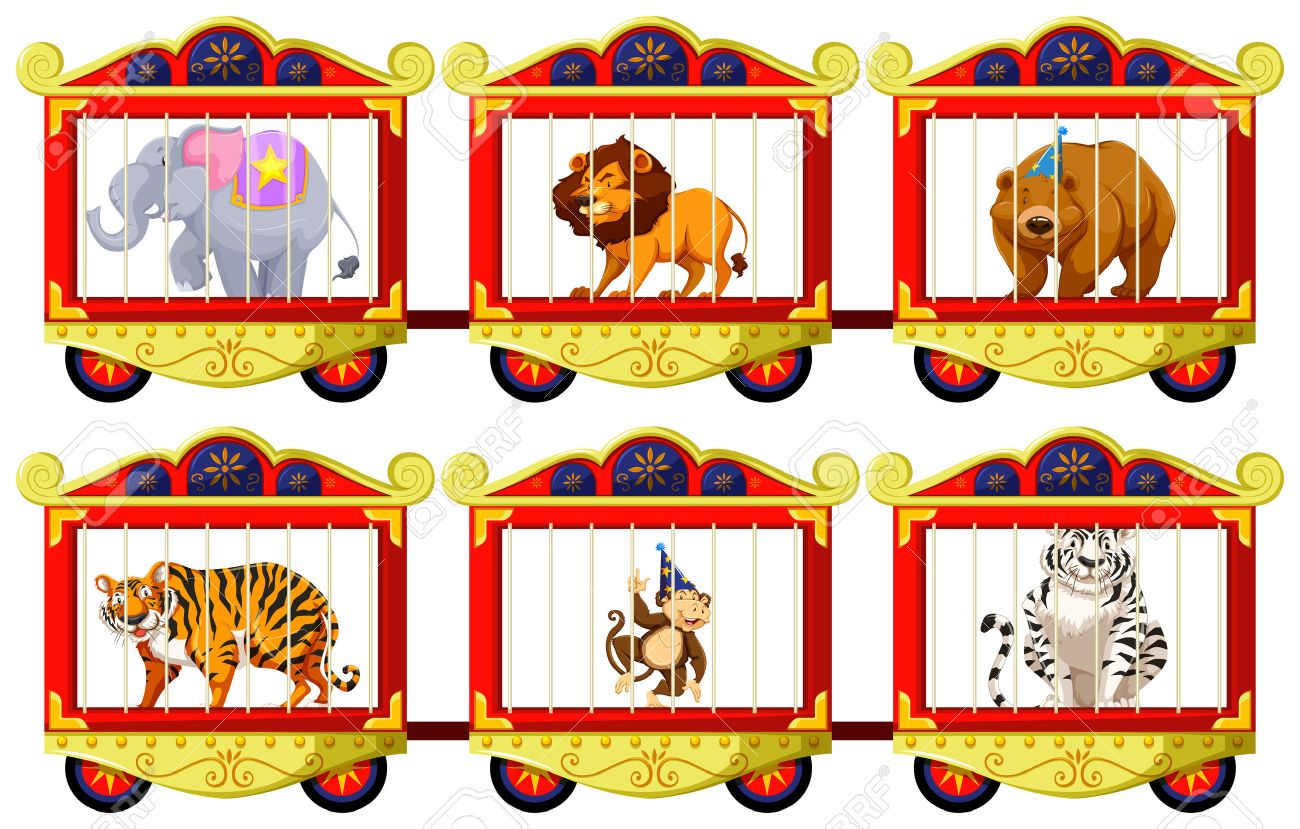 wild animals in the circus cages illustration royalty free cliparts rh 123rf com free clipart circus tent free clipart circus theme