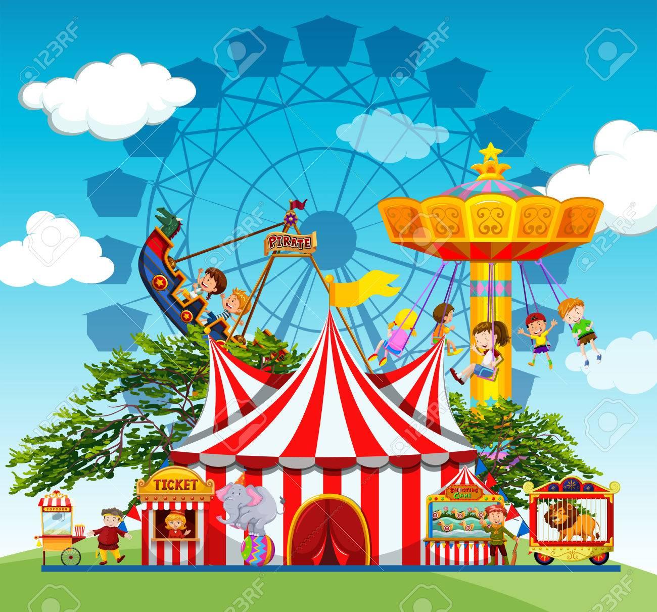 子供と遊園地イラストの人々のイラスト素材ベクタ Image 48902202