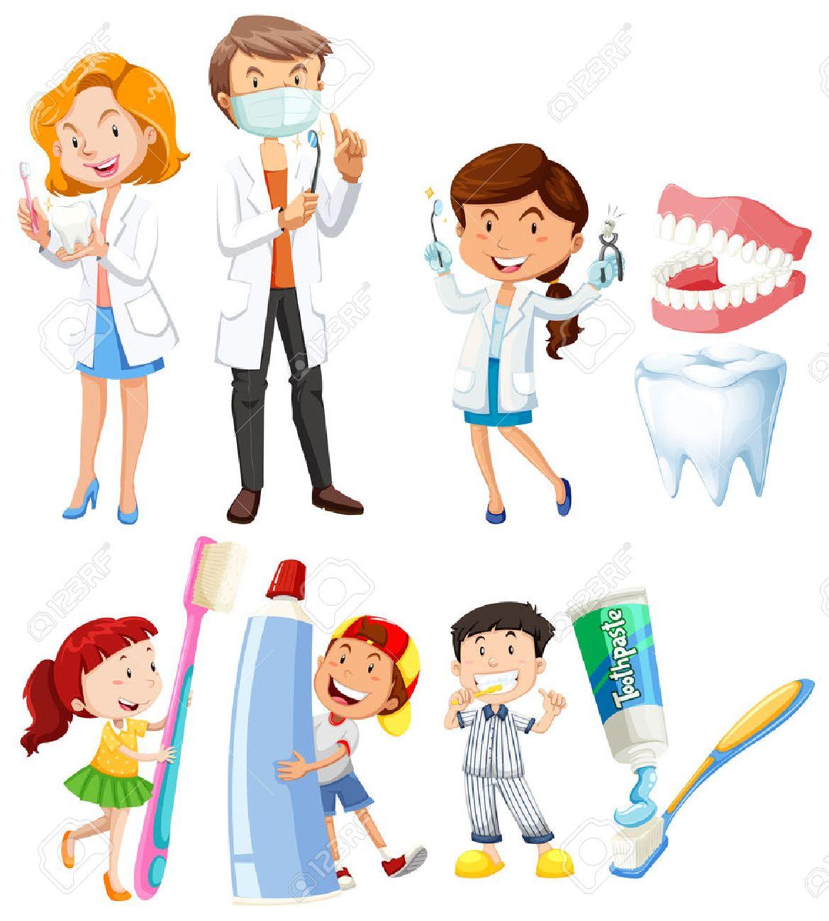 歯科医子供のブラッシング歯イラストのイラスト素材ベクタ Image