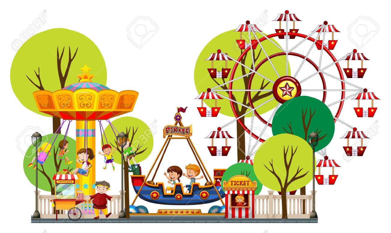 children playing in the theme park illustration royalty free rh 123rf com theme park images clip art theme park clipart free