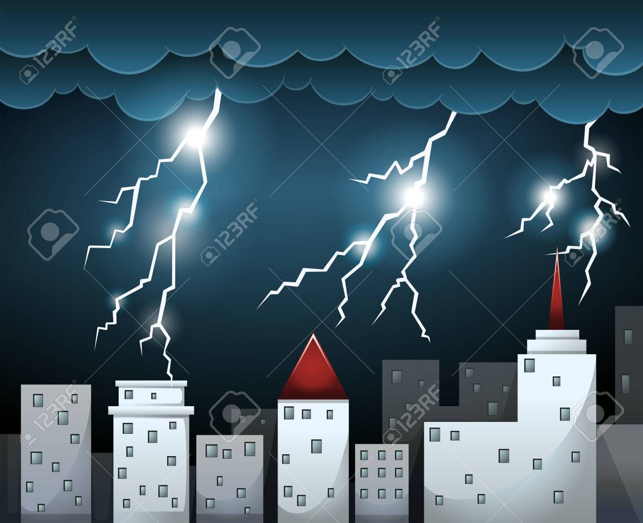 thunderstorm and dark clouds over city illustration royalty free rh 123rf com thunderstorm clipart black and white thunderstorm clipart gif