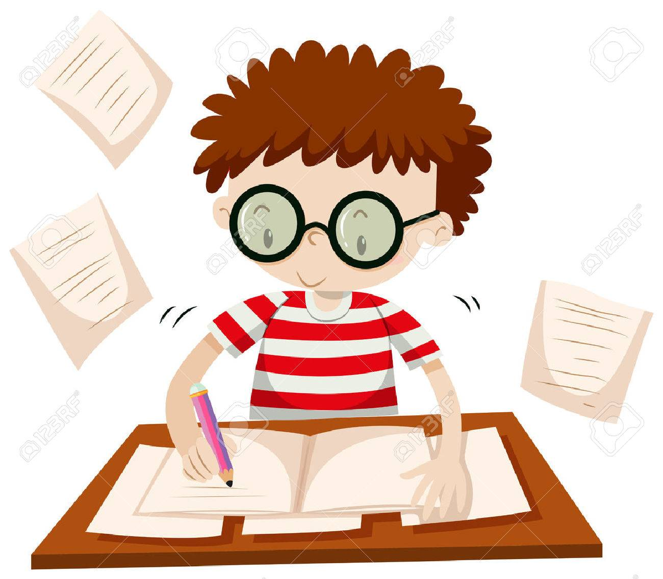 boy writing on the table illustration royalty free cliparts, vectors