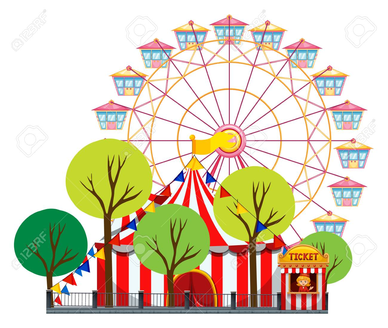 circus scene with tent and ferris wheel illustration royalty free rh 123rf com animated ferris wheel clipart animated ferris wheel clipart