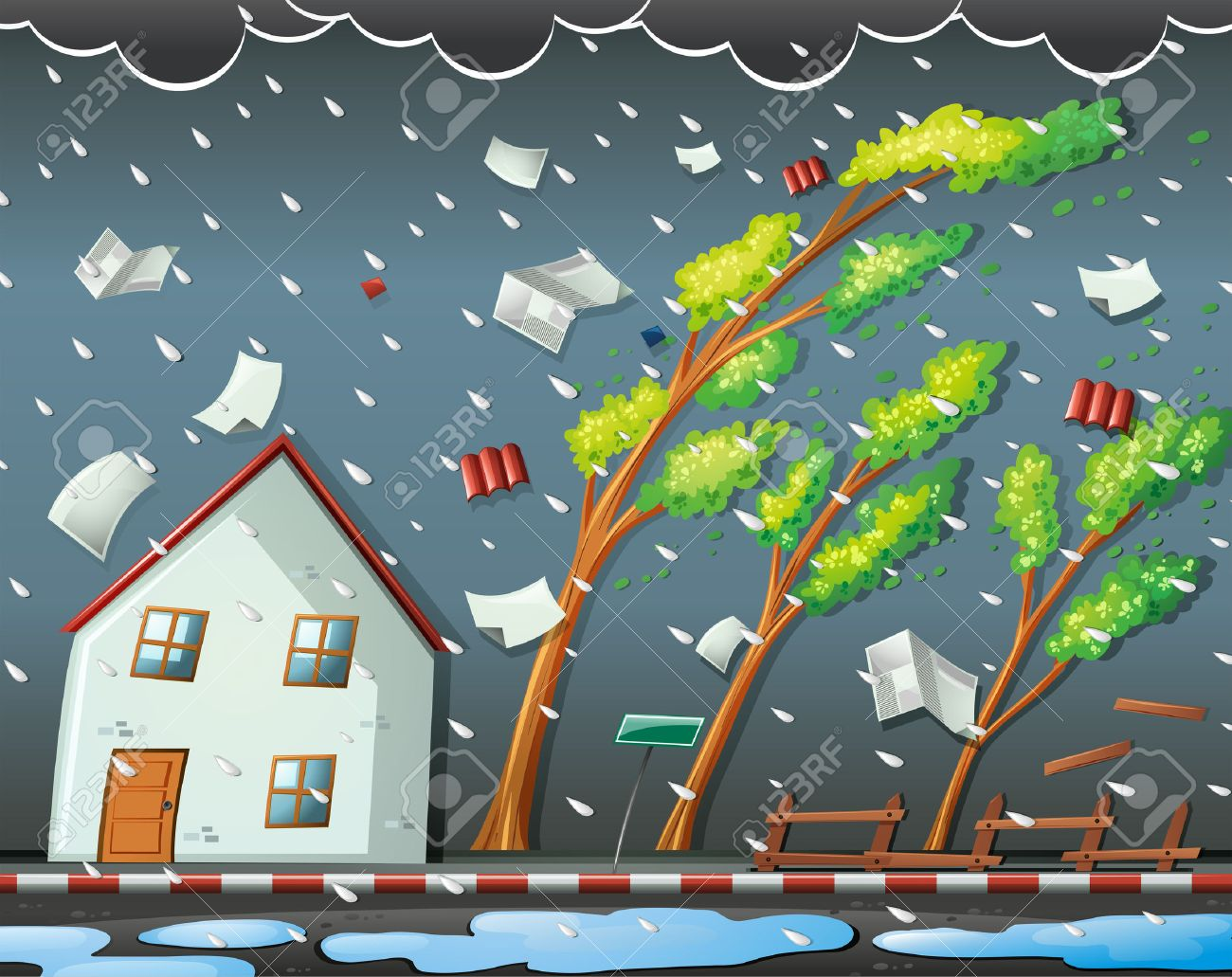Natural disaster scene with hurricane illustration - 49135807