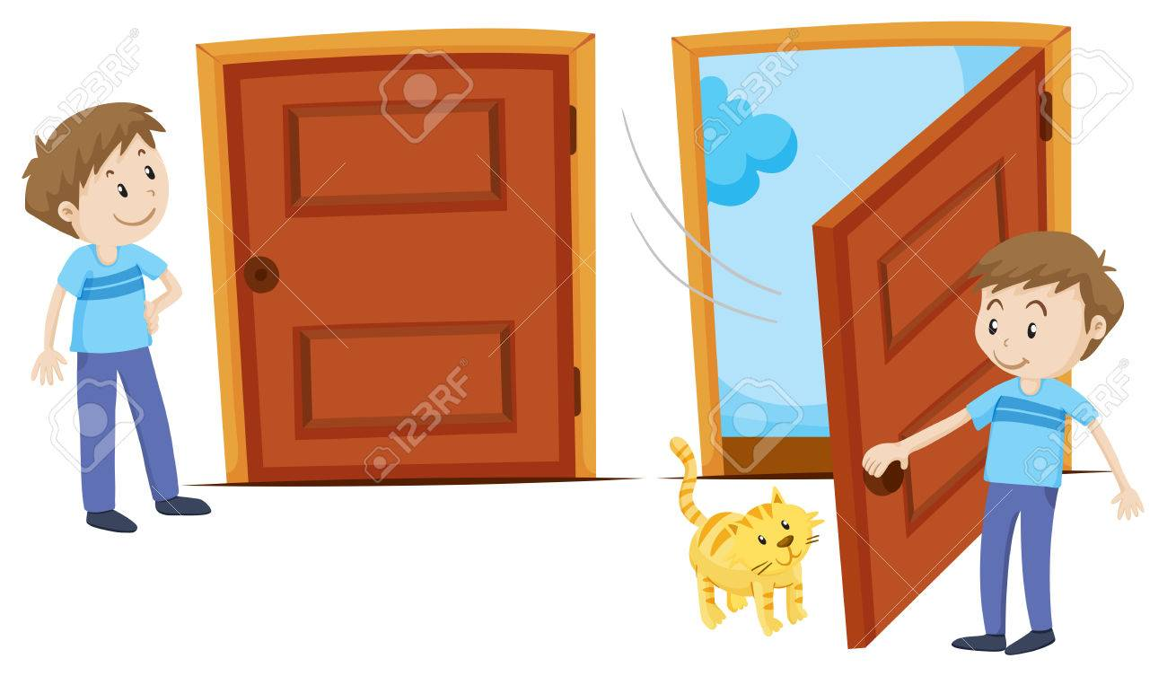 Door closed and door opened illustration Stock Vector - 49134920  sc 1 st  123RF.com & Door Closed And Door Opened Illustration Royalty Free Cliparts ...