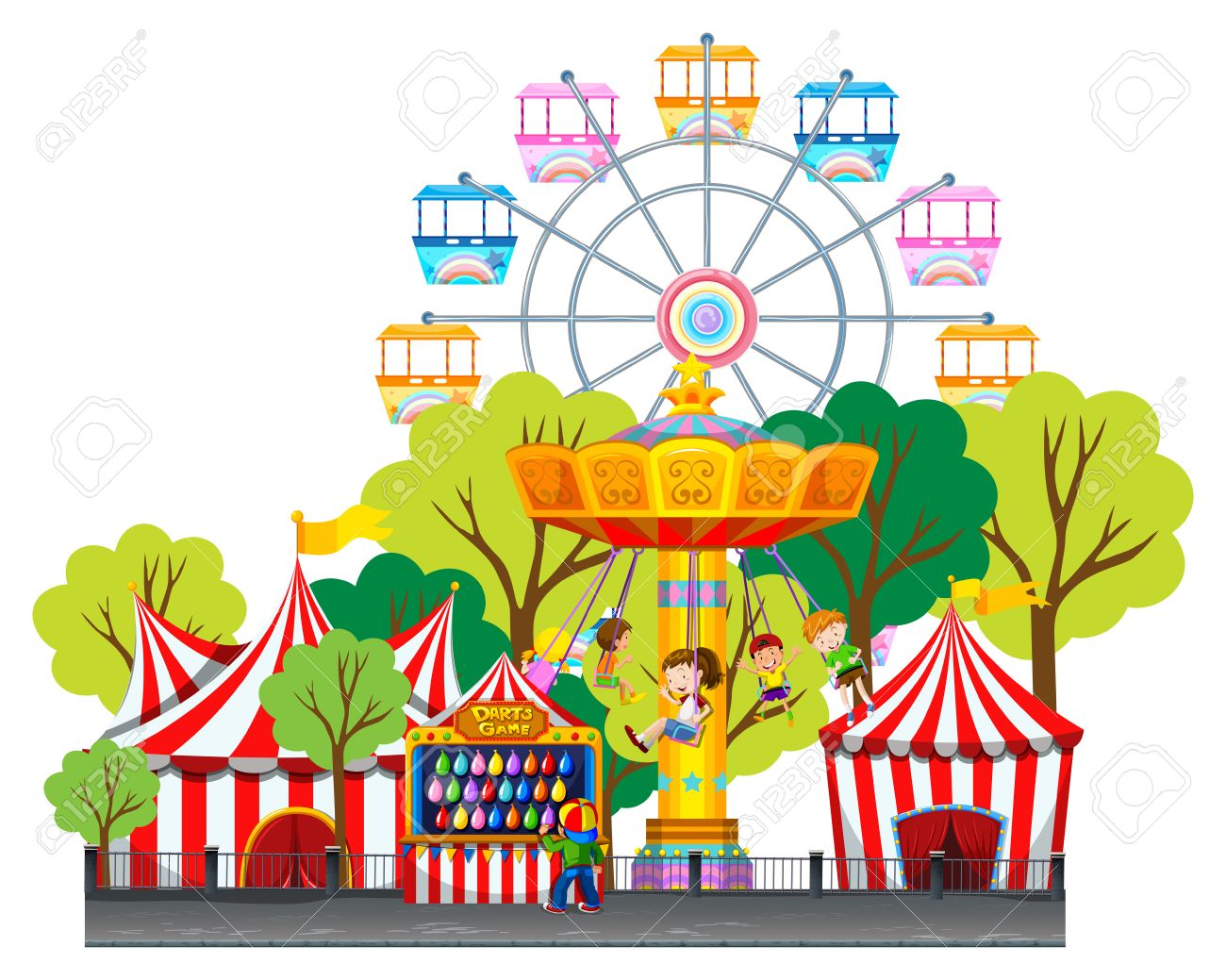 children riding on swing at the fun park illustration royalty free rh 123rf com  disney theme park clip art