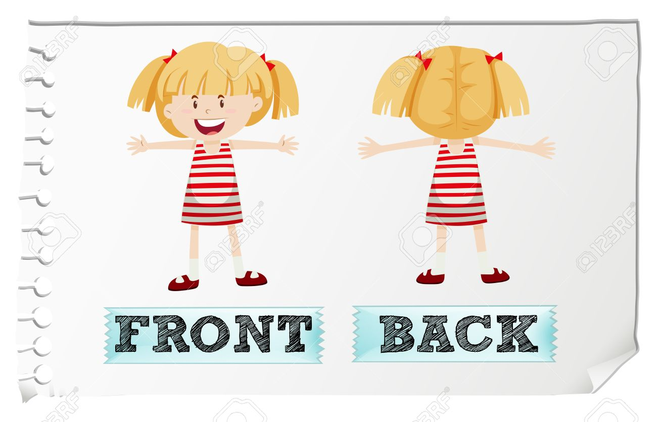 opposite adjectives front and back illustration royalty free