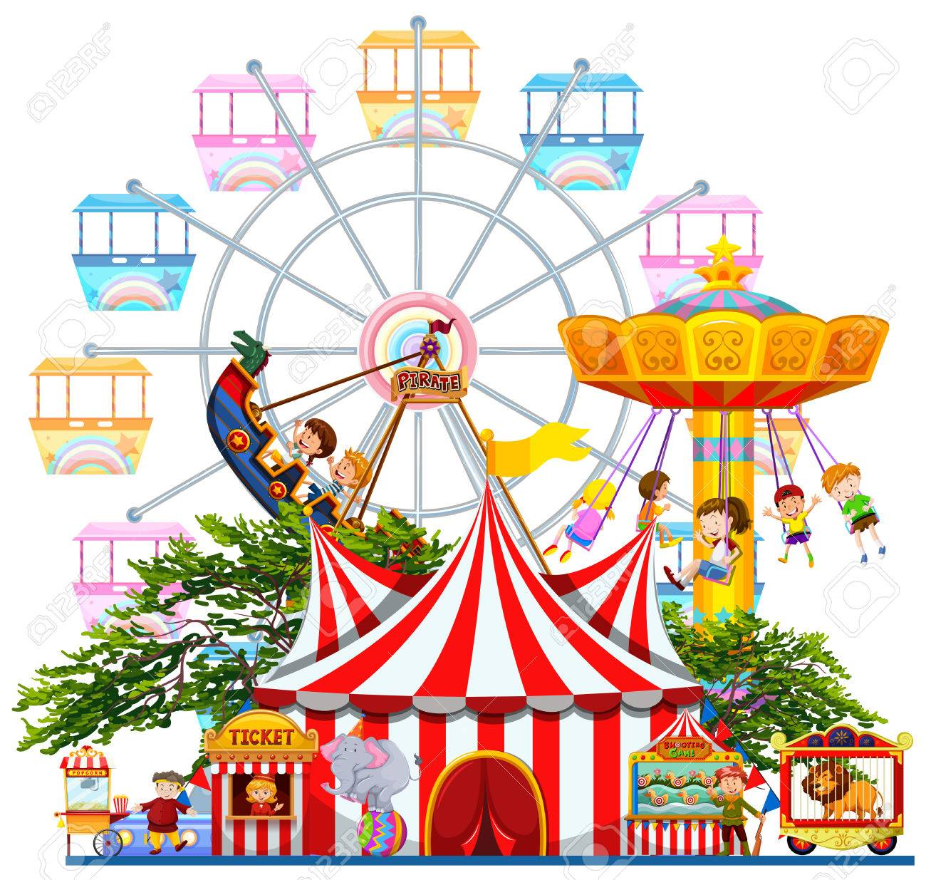 amusement park scene with many rides illustration royalty free rh 123rf com amusement park clipart map amusement park clipart map
