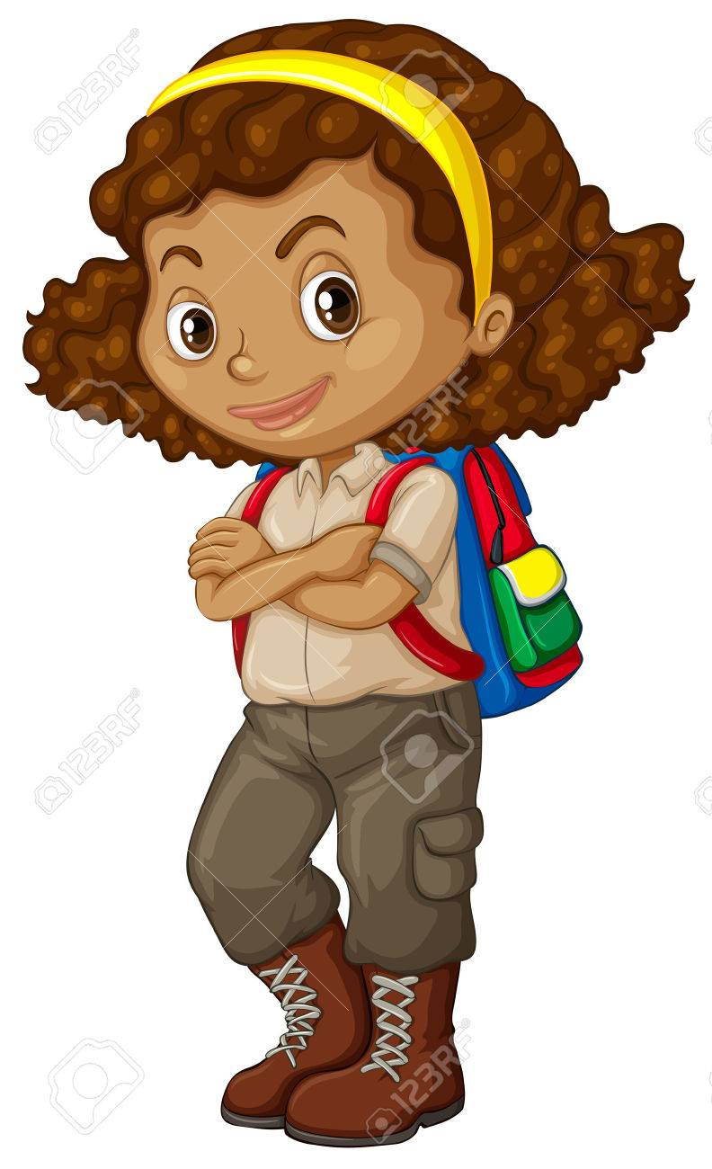 Fille Afro Americaine Avec Sac A Dos Illustration Clip Art Libres De Droits Vecteurs Et Illustration Image 49391712