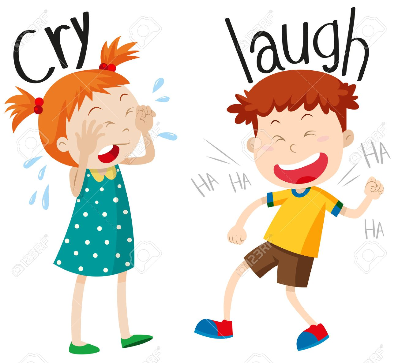 opposite adjectives cry and laugh illustration royalty free cliparts rh 123rf com laugh clipart black and white laugh clipart png