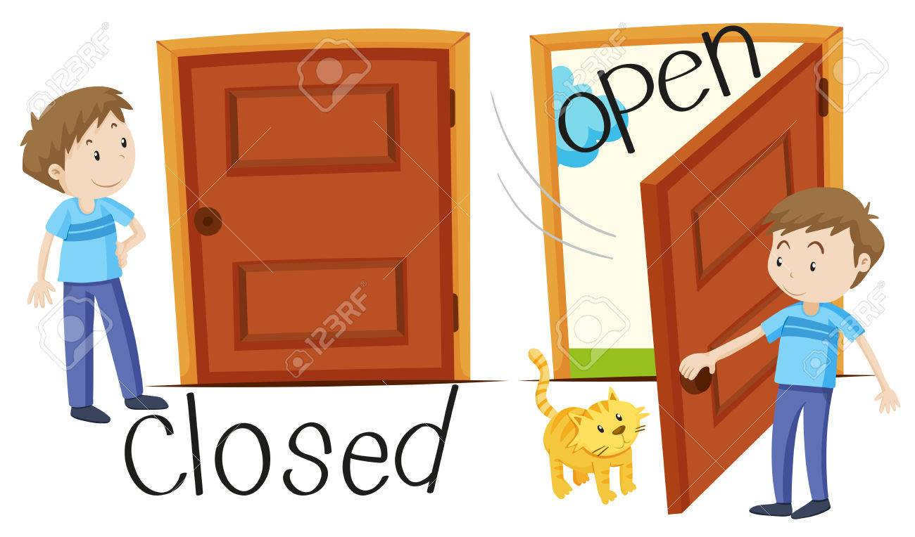 closed door clipart. Man By Closed And Opened Door Illustration Stock Vector - 49391629 Clipart L