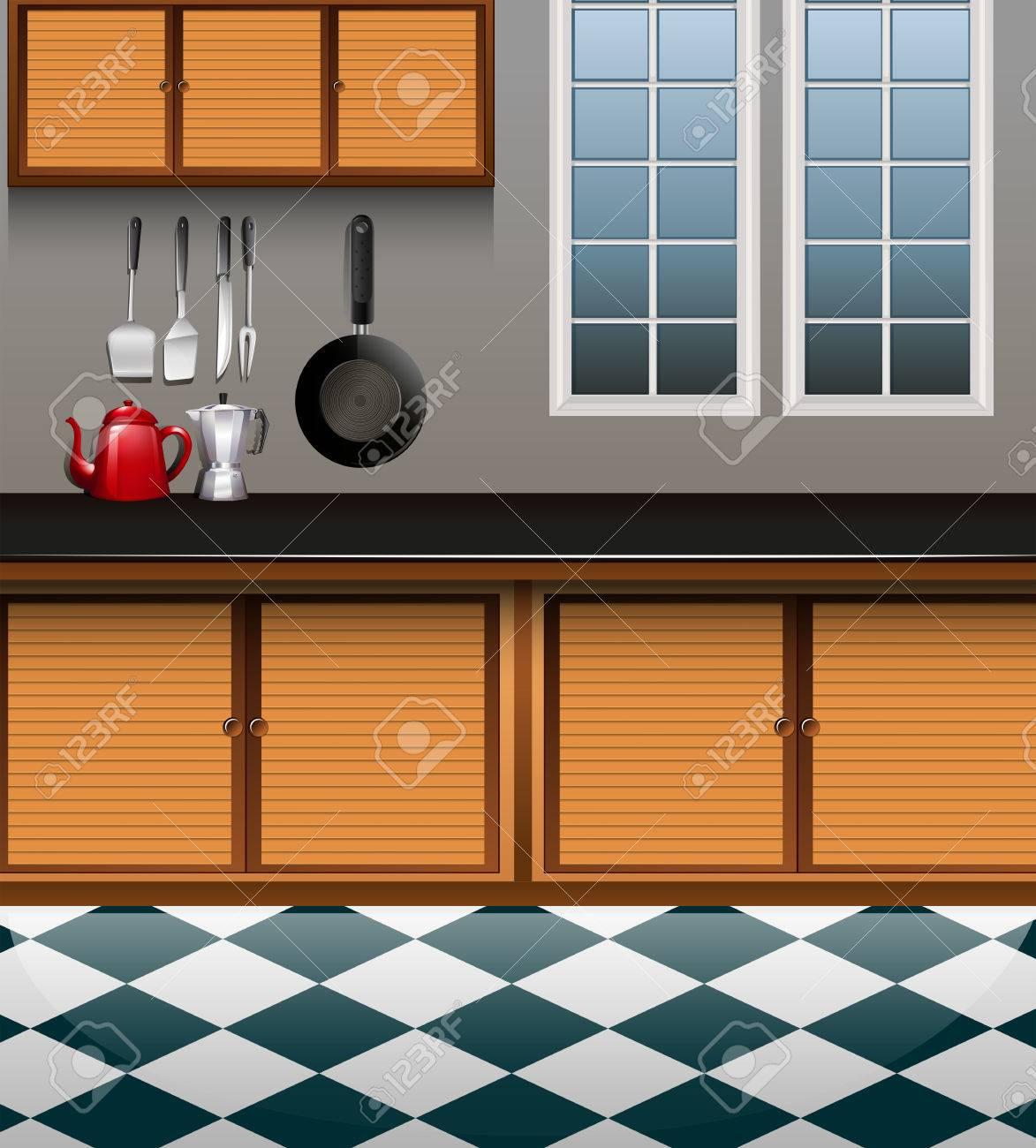 Cocina Con Ilustración Gabinete De Madera Ilustraciones Vectoriales ...
