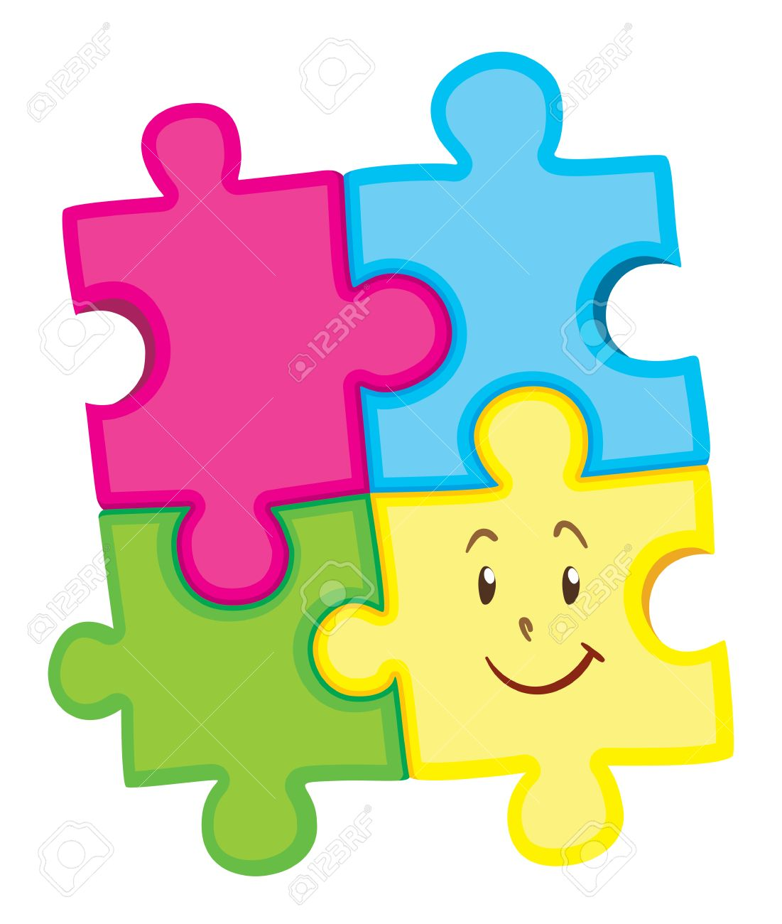 jigsaw puzzle pieces with happy face illustration royalty free rh 123rf com jigsaw puzzle border clipart jigsaw puzzle clip art free