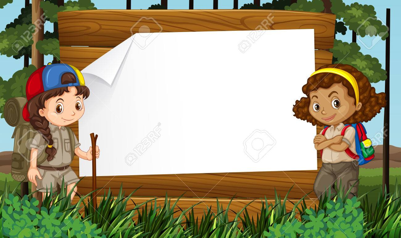 Border Design With Two Girls Camping Out Illustration Stock Vector
