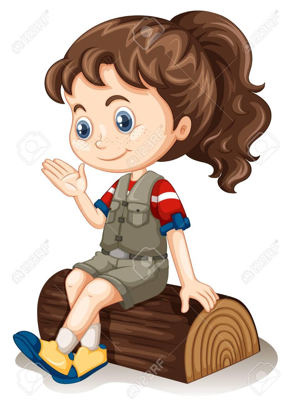Little girl sitting on log illustration - 50176642