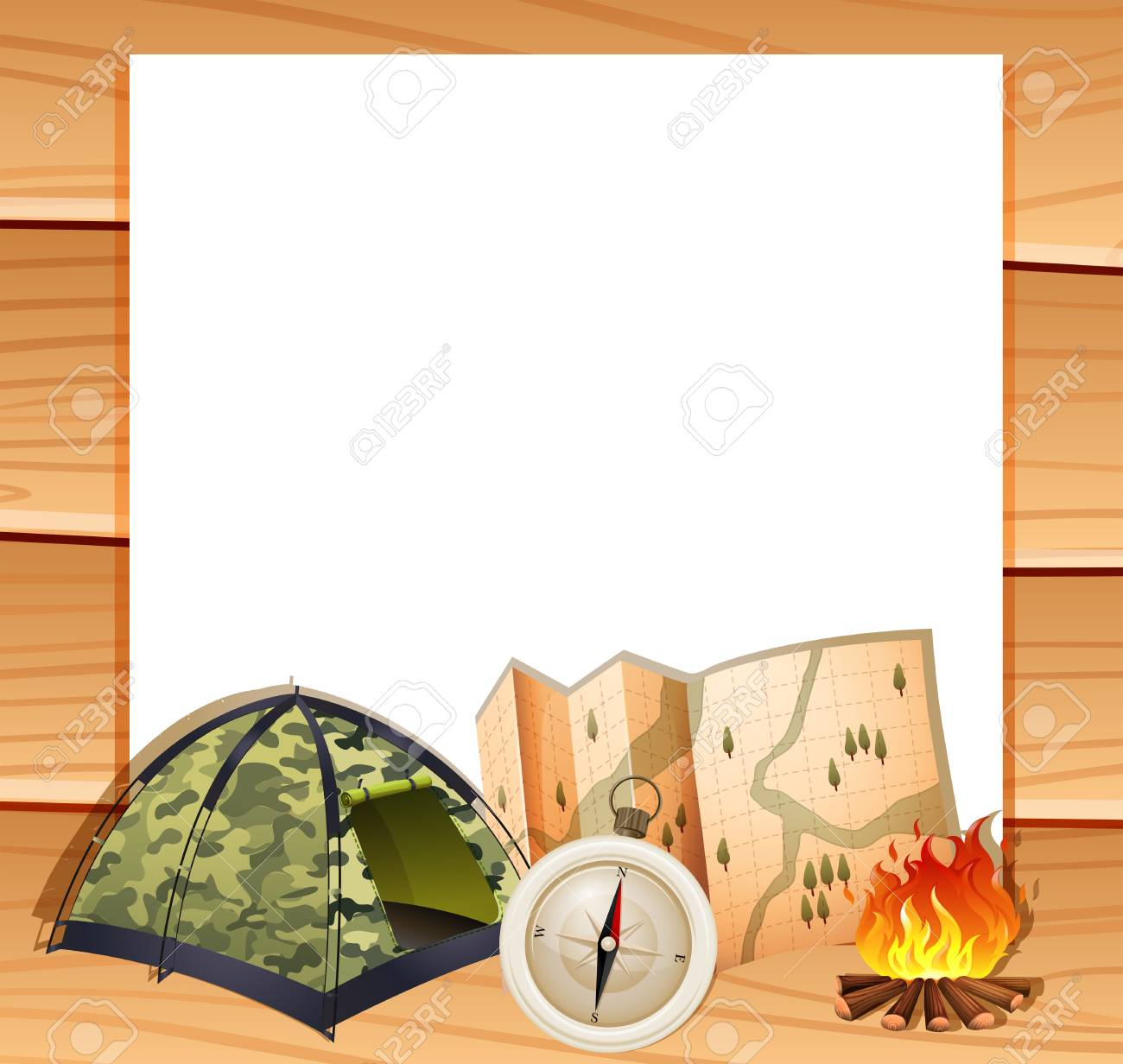 Border Design With Camping Equipments Illustration Stock Vector