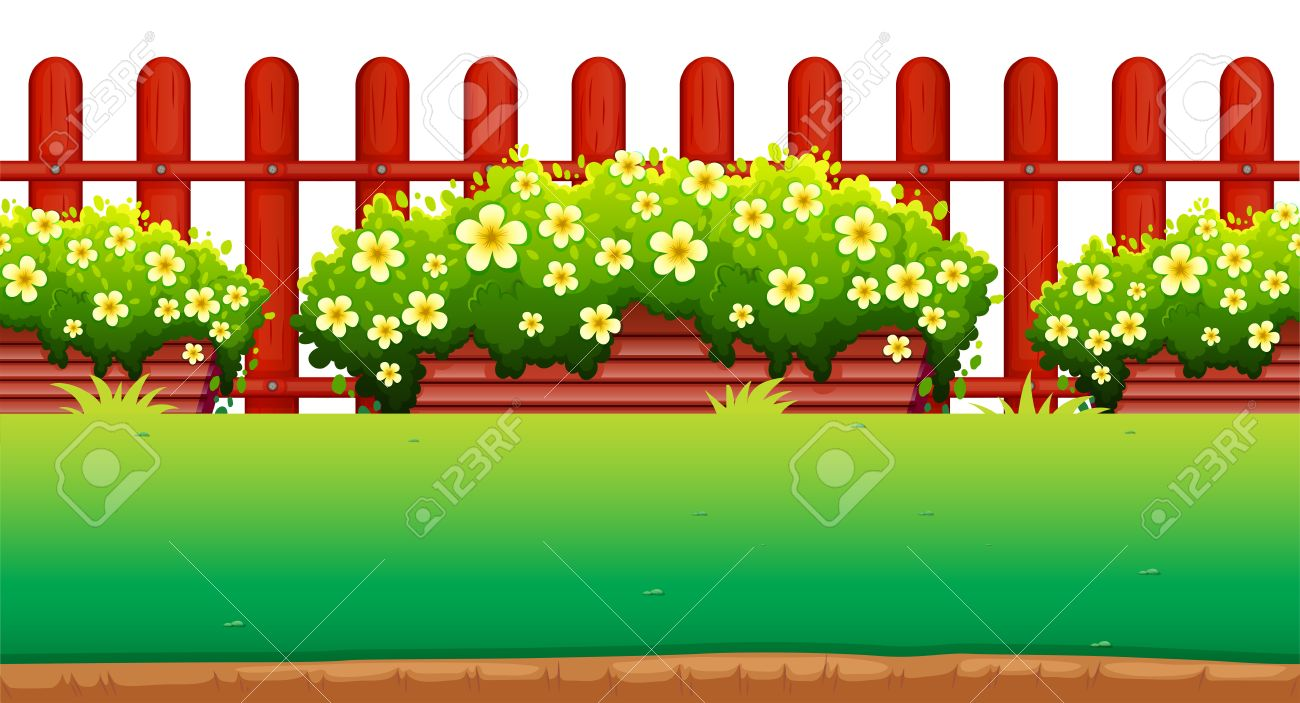 Flowers And Fence In The Garden Illustration Stock Vector   50176609