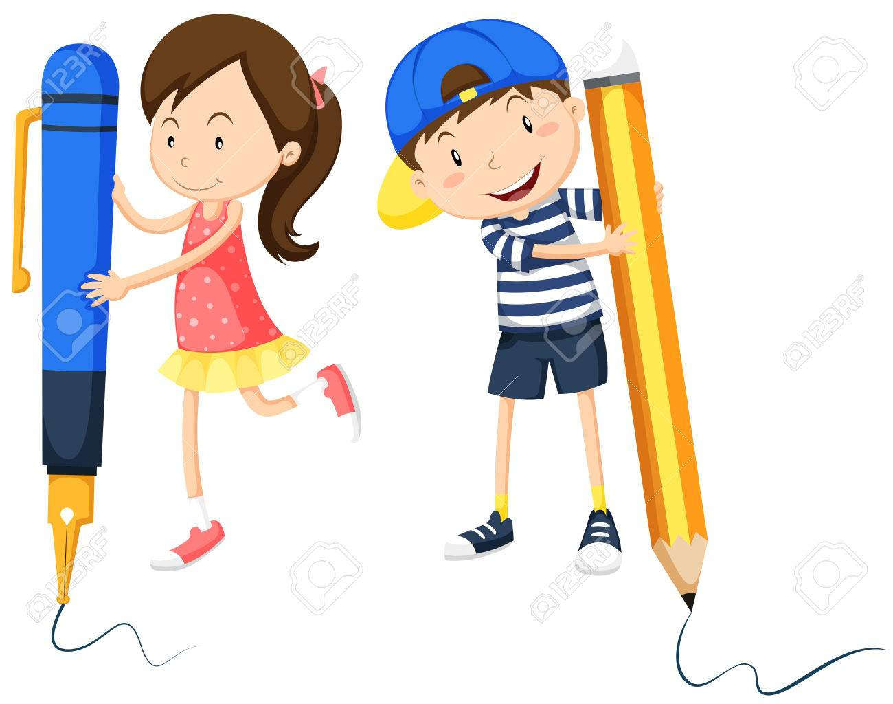 boy and girl writing on the floor illustration royalty free cliparts