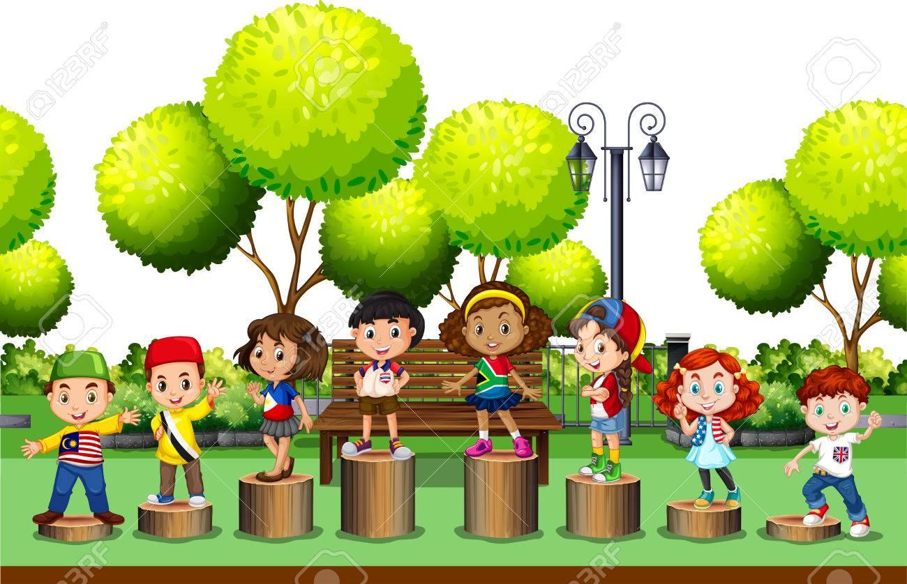 Children standing on log in the park illustration - 51020025