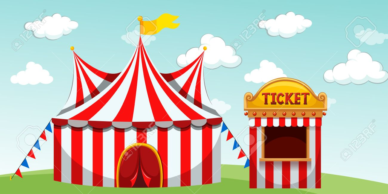 Circus tent and ticket booth illustration Stock Vector - 51019972  sc 1 st  123RF.com & Circus Tent And Ticket Booth Illustration Royalty Free Cliparts ...