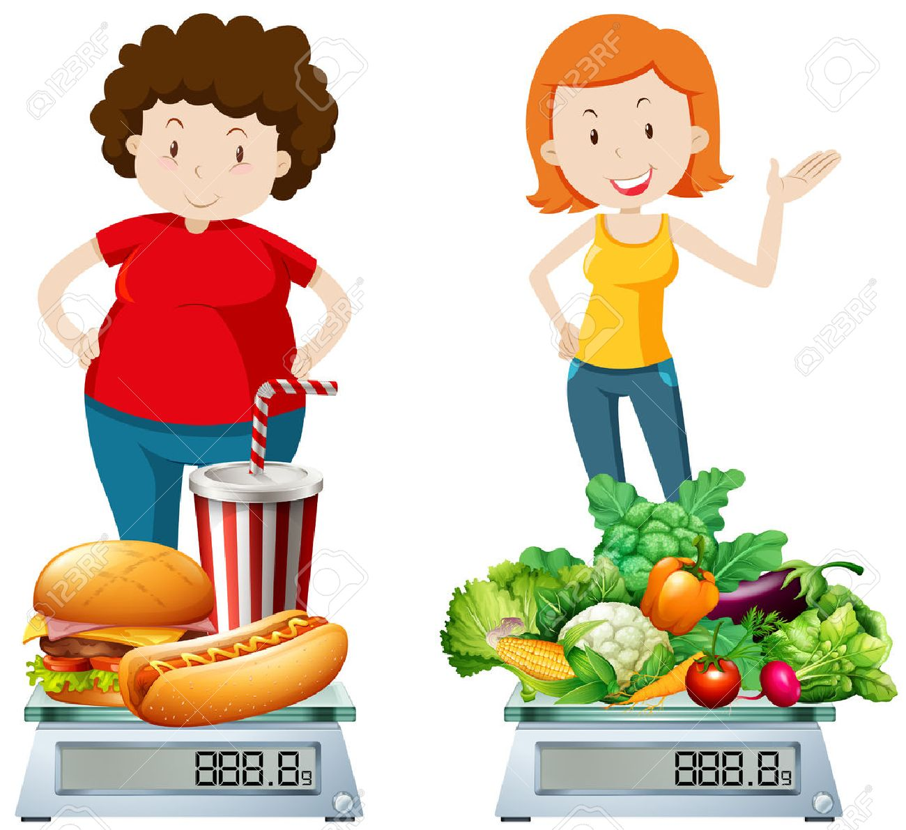 Woman eating healthy and unhealthy food illustration - 51440440