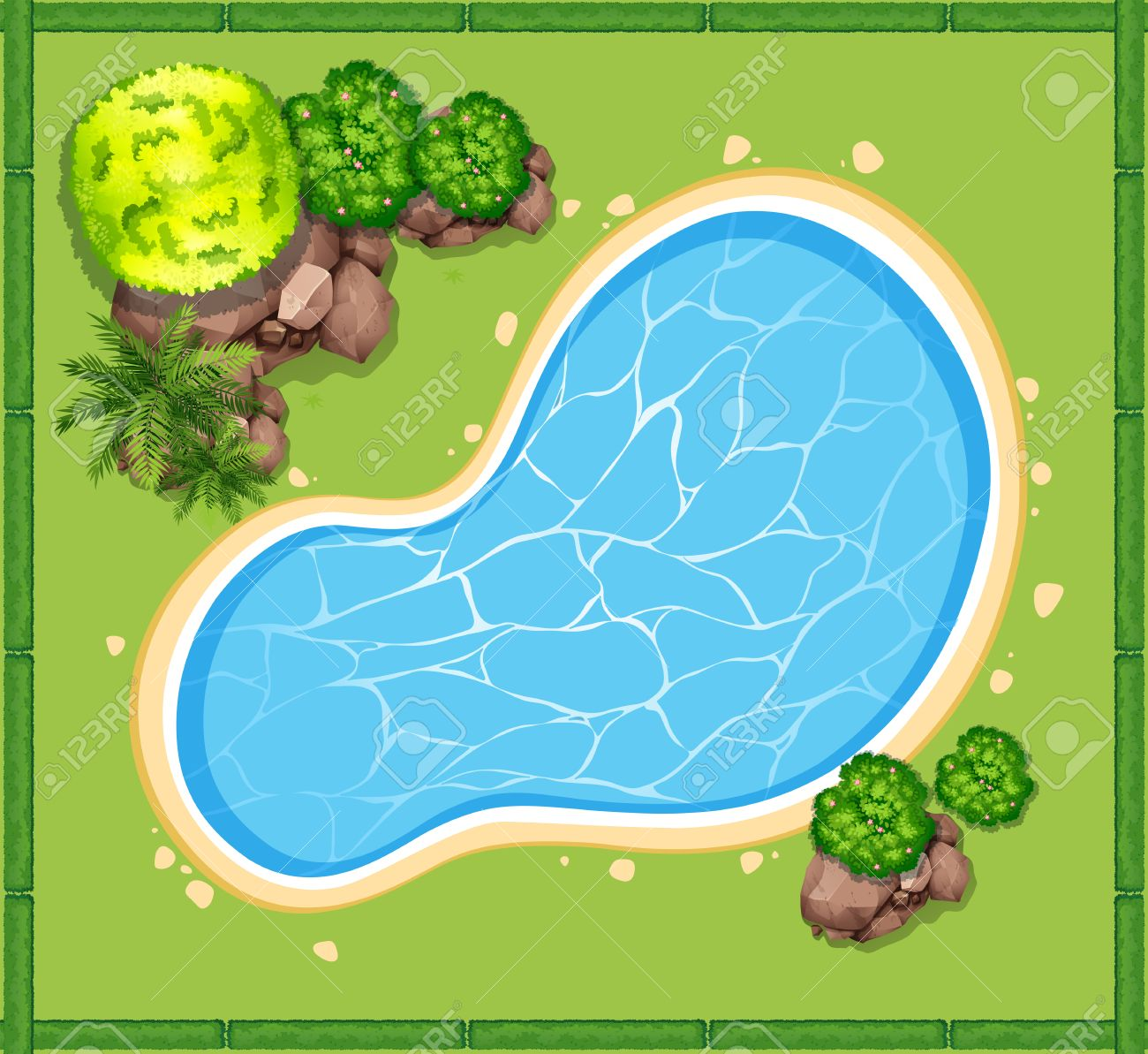 Plant top view vector in group download free vector art stock - Plants Top View Top View Of Swimming Pool In The Garden Illustration Illustration