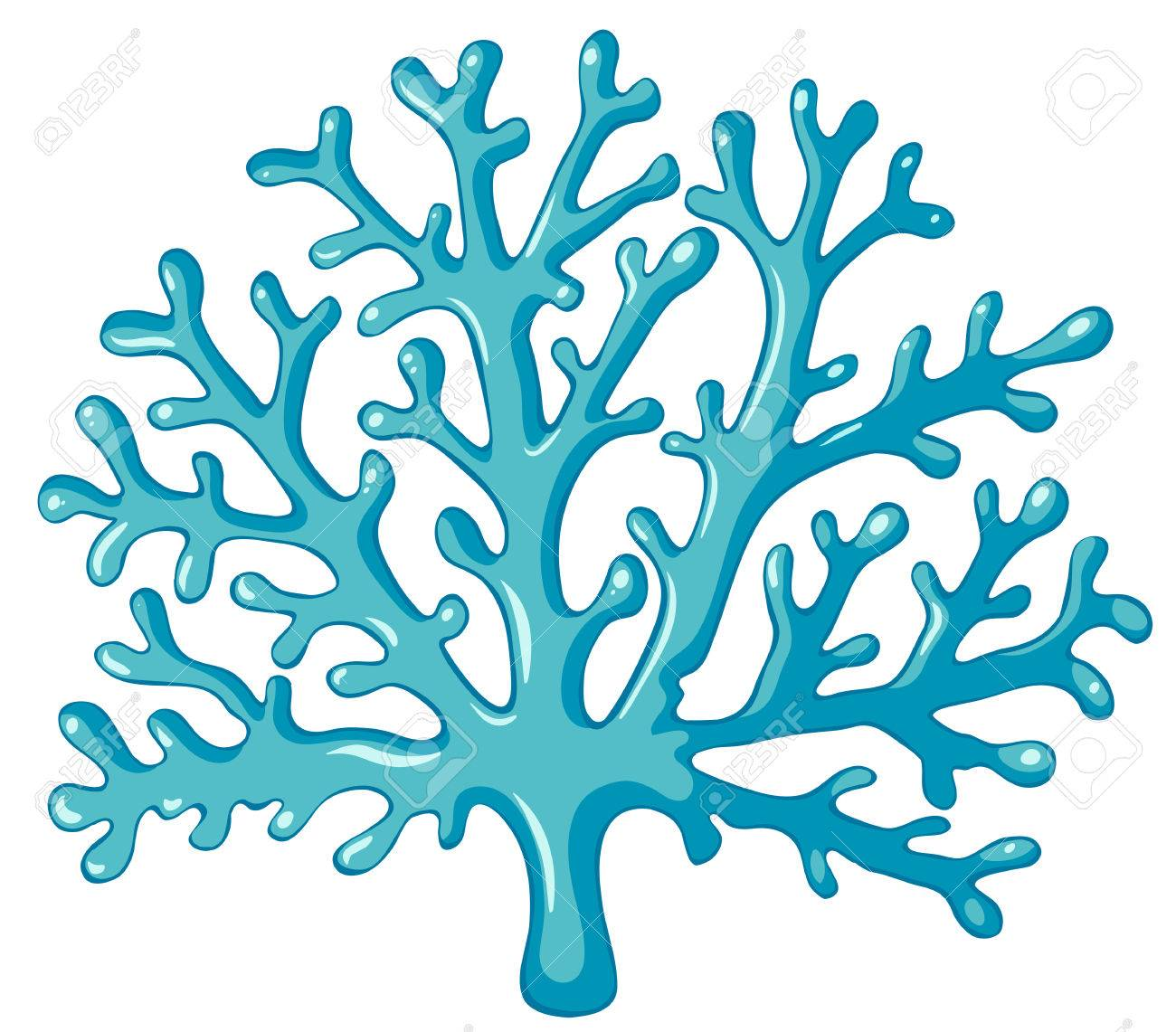 blue coral on white background illustration royalty free cliparts rh 123rf com corel clipart free coral clipart images