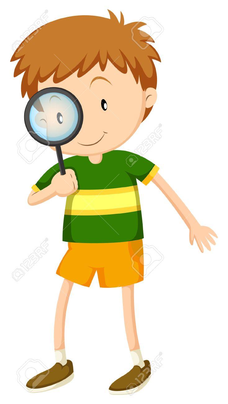 虫眼鏡イラストを通して見る男の子 ロイヤリティフリークリップアート
