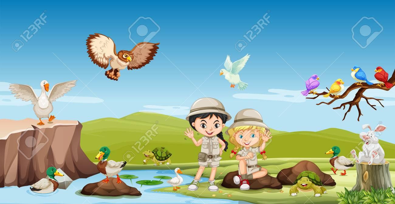2 つの女の子と川のイラスト動物 ロイヤリティフリークリップアート