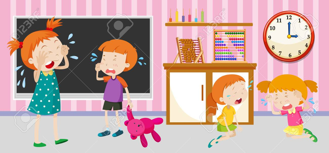 Sad Children Crying In The Classroom Illustration Royalty Free ...