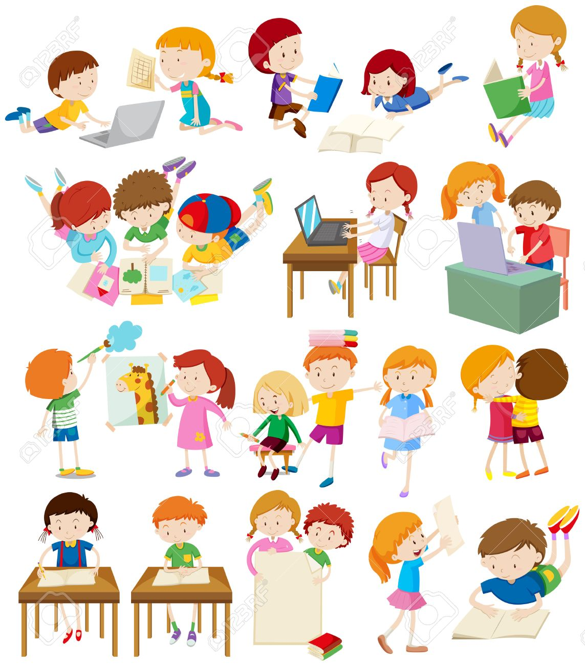 children doing activities at school illustration royalty free