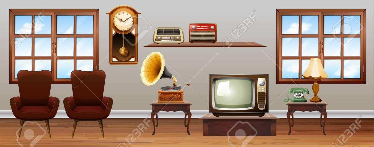 Vintage möbel wohnzimmer  Wohnzimmer Voller Vintage-Möbel Illustration Lizenzfrei Nutzbare ...