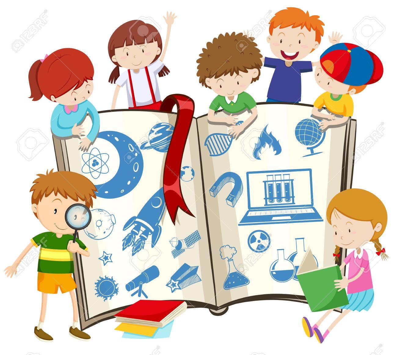科学の本と子どものイラスト ロイヤリティフリークリップアート