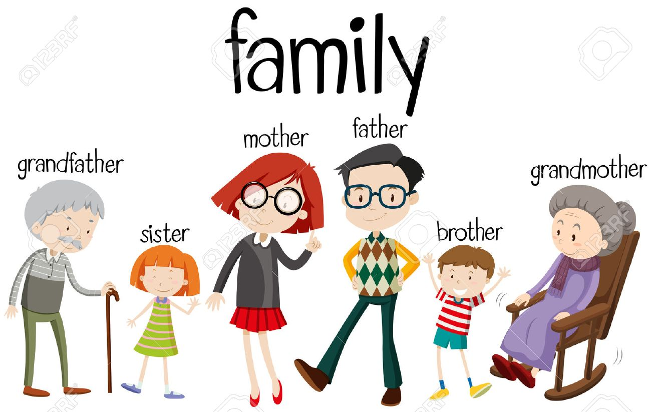 family members with three generations illustration royalty free rh 123rf com clipart of five family members Cartoon Family Members