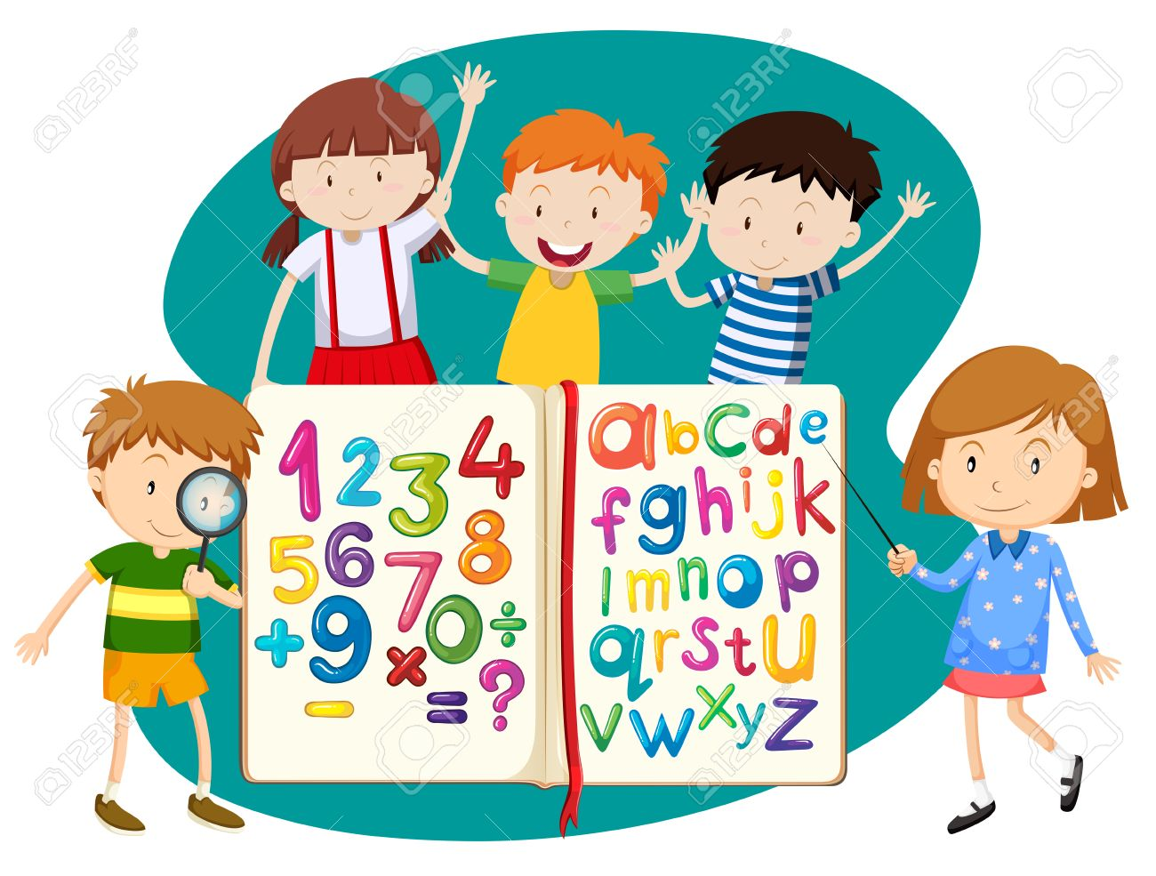 Children With Book Of Math And English Illustration Royalty Free ...