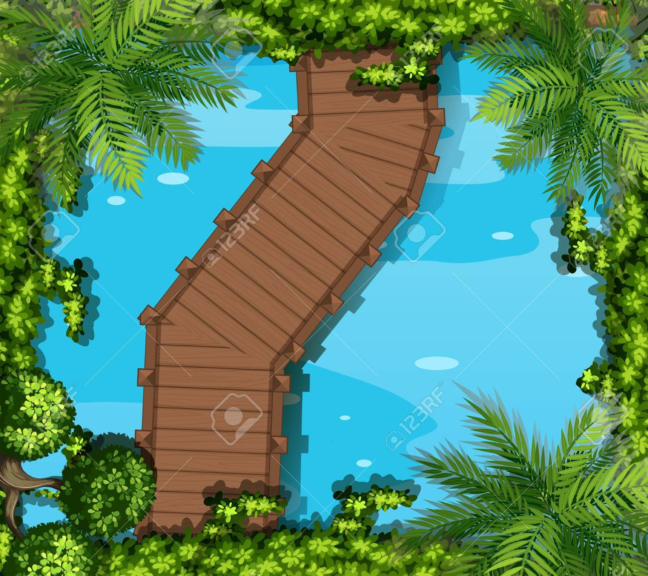Top view of pond with bridge illustration - 52037021