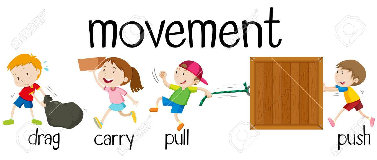 children in four movements illustration royalty free cliparts