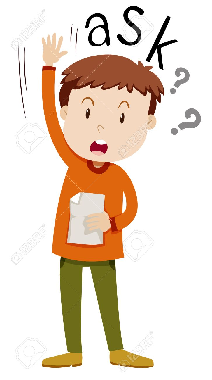 boy with paper asking questions illustration royalty free cliparts rh 123rf com questions clip art free questions clip art free